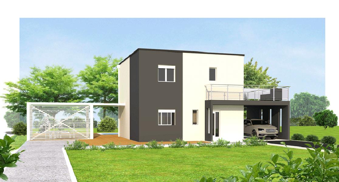 Maison t4 mod le toit plat lys gris 89m maisons eugie for Modele maison toit plat