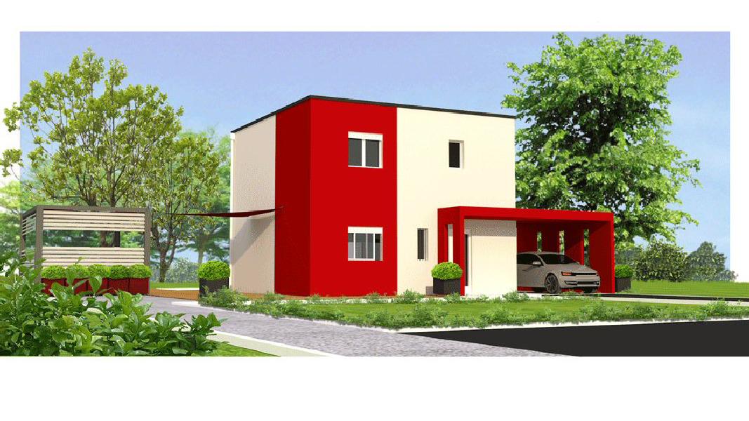 MAISON T4 étage maisons eugie modèle lys rouge contemporain moderne décoration façade toit plat matériaux régionaux construction traditionnelle tarn et garonne montauban