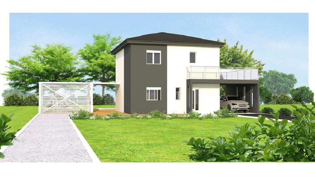 MAISON T4 MODELE LYS GRIS maisons eugie modèle lys gris étage contemporain moderne décoration façade toiture pente 33% matériaux régionaux construction traditionnelle tarn et garonne montauban