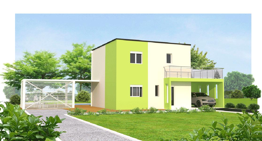 LYS-vert maisons eugie modèle lys vert étagecontemporain moderne décoration façade toiture pente 33% toit plat matériaux régionaux construction traditionnelle tarn et garonne montauban