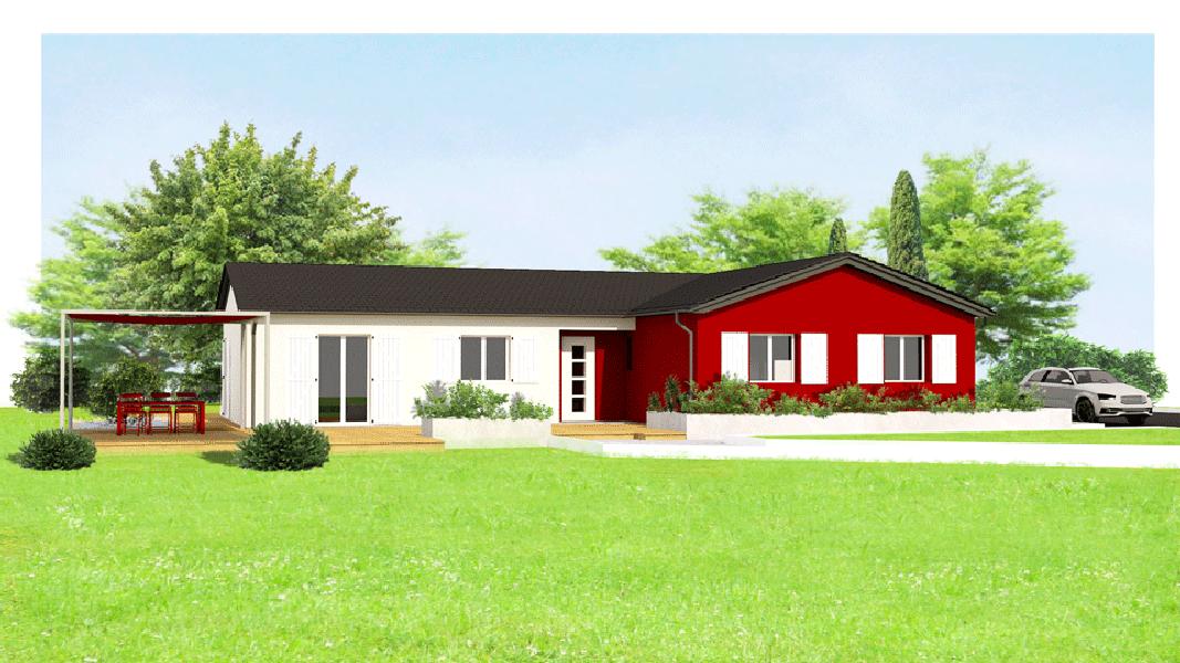maisons eugie modèle hibiscus rouge plain pied contemporain moderne décoration façade toiture pente 33% matériaux régionaux construction traditionnelle tarn et garonne montauban