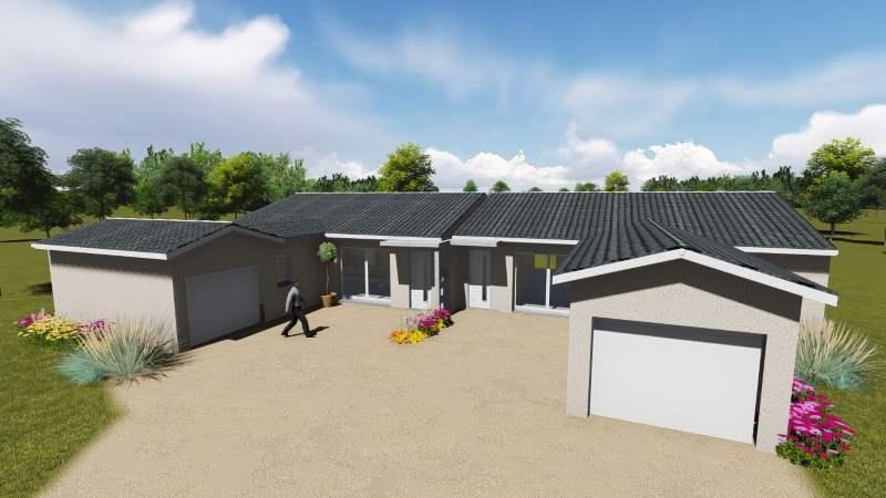 maisons eugie modèle plain pied contemporain moderne décoration façade toiture pente 33% matériaux régionaux construction traditionnelle tarn et garonne montauban locatif construction locative