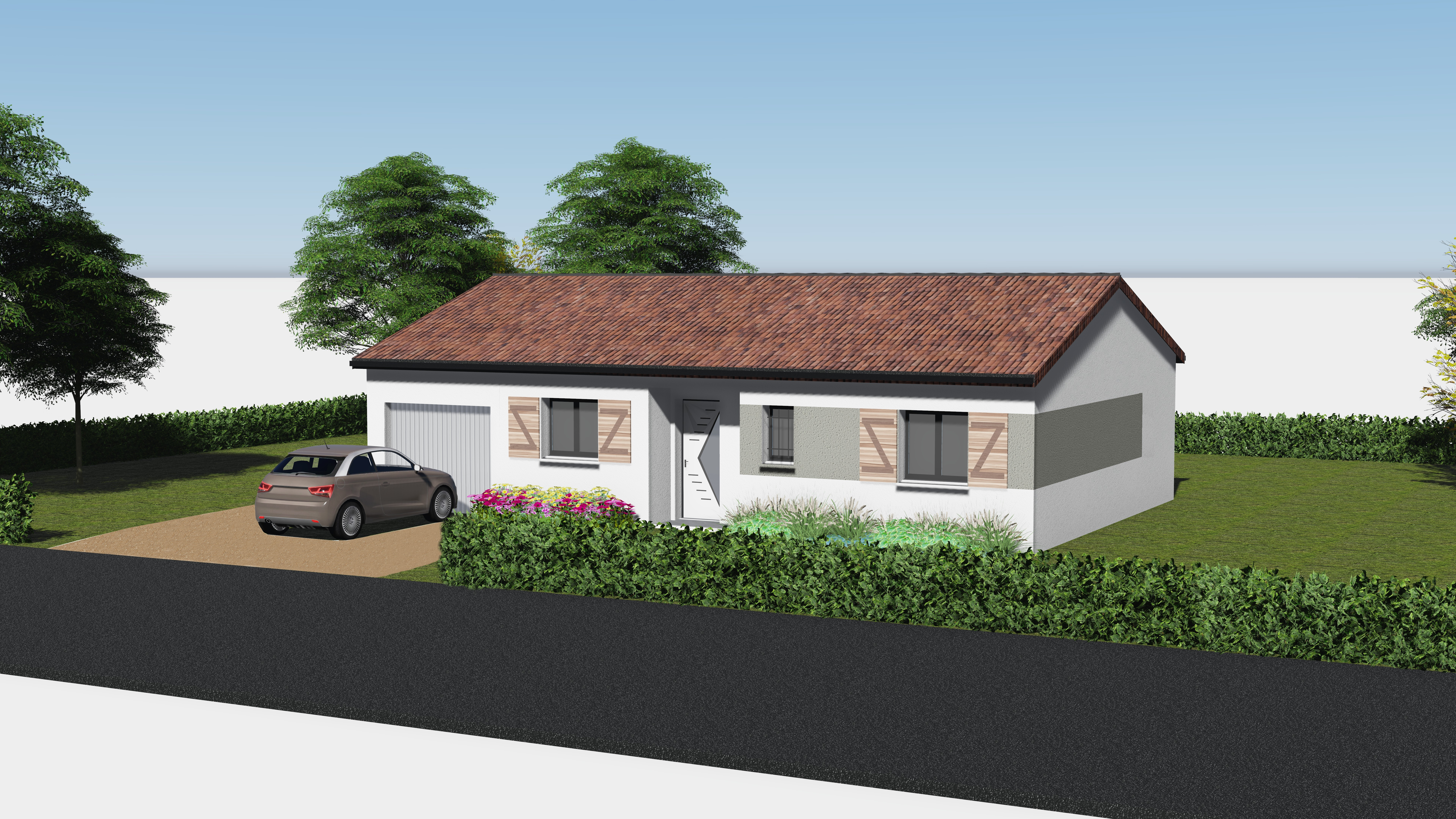 maisons eugie modèle plain pied contemporain moderne décoration façade toiture pente 33% matériaux régionaux construction traditionnelle tarn et garonne montauban volets bois