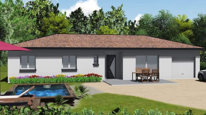 maisons eugie modèle plain pied contemporain moderne décoration façade toiture pente 33% matériaux régionaux construction traditionnelle tarn et garonne montauban